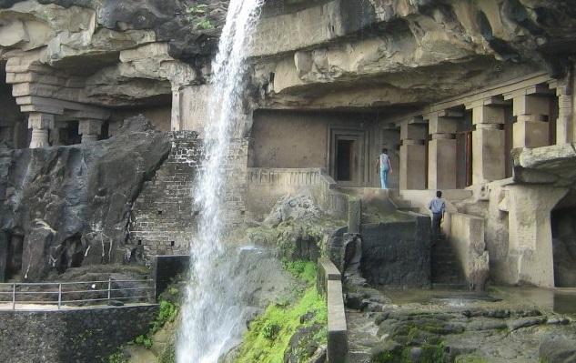 ellora-caves waterfall in caves no.29